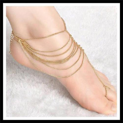 Atreus Indian style trendy multi-layers chains jewelry anklets zinc alloy brand ankle bracelets for women statement accessories
