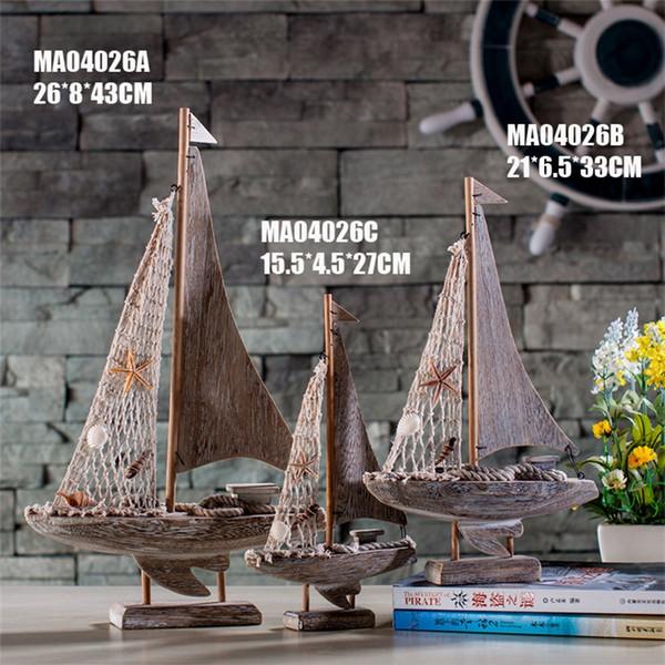 Retro Sailboat Fishing Boat Ship Model Originality Bathroom Living Room Ornament Home Furnishing Classic Vintage Model 24mr6 gg