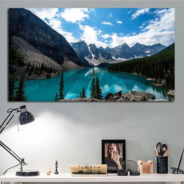 Acheter 1 Panneau Mural Art Lake Louise Canada Paysage Peinture à L Huile Pour Salon Chambre Mur Photos Décor à La Maison Non Encadré De 27 73 Du