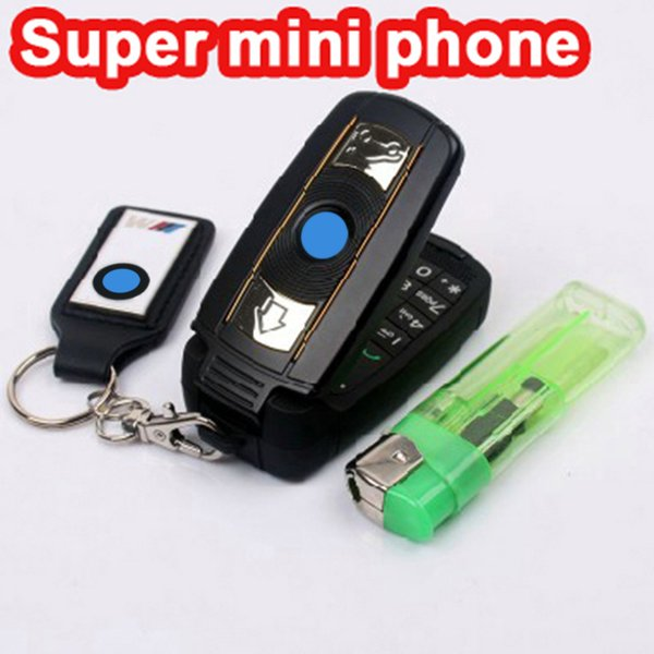 Unlock Mini car key cell phone X6 super small Dual-bands super car Special mini cell mobile phone FM Camera cellphone