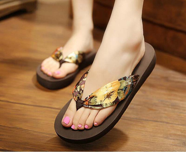 1pair 2018 Summer Europe and US Bohemia silk fabrics cool slippers Women Beach Flip Flops sandals outside