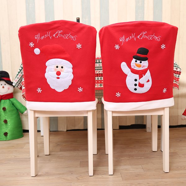 New Year Christmas Decorations Santa Claus Hat Dinner Table Chair Back Covers for Party Home Decorations Crafts Room 2Pcs /Lot