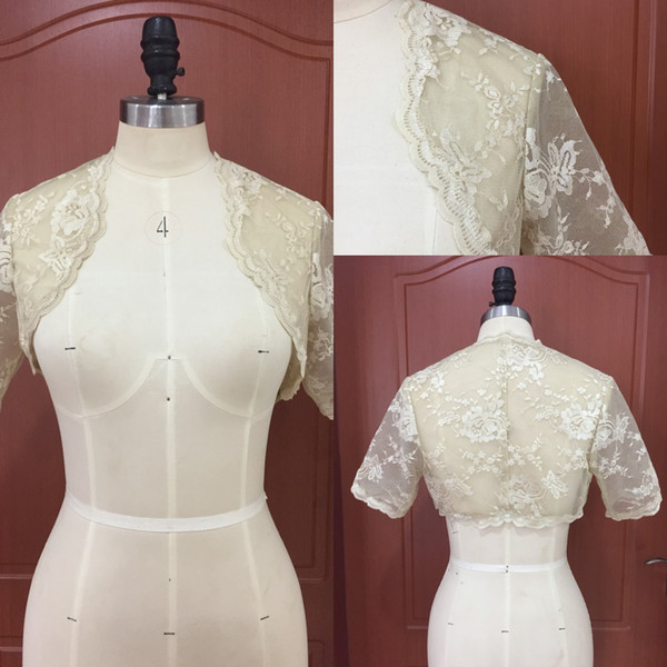 Vintage Champagne Lace Bridal Bolero Jackets with Short Sleeves 2018 New Wedding Accessories Matching with Wedding Dresses