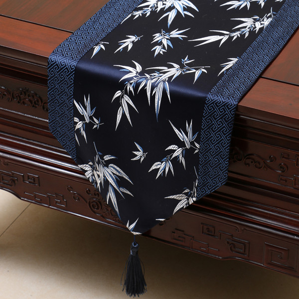 best selling 300x33 cm Extra Long Bamboo Silk Damask Table Runner Christmas Wedding Party Decoration Table Cloth Rectangular Elegant Dining Table Mat