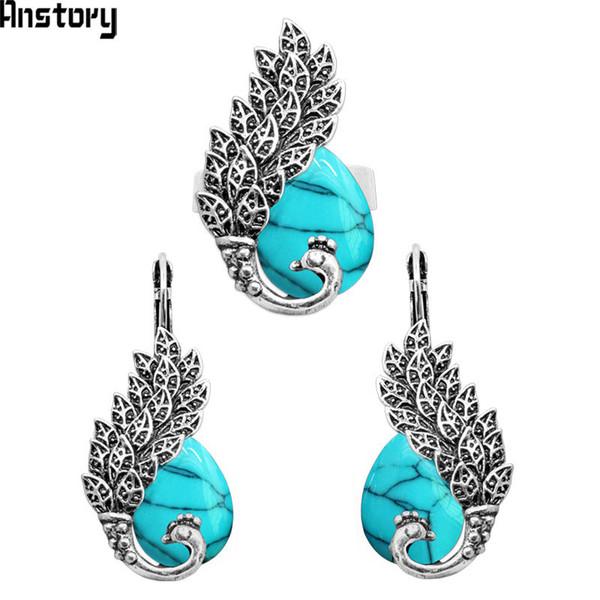 Drop Stone Paon Bijoux Parures Boucles D'oreilles Anneaux Réglables Pour Femmes Antique Argent Plaqué Bijoux De Mode TS258