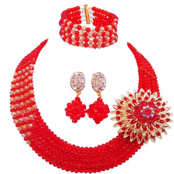 Red Champagne Gold AB nigeriano de la boda perlas africanas joyas conjunto de cuentas de cristal conjuntos de conjuntos de joyería nupcial 5RJZ15