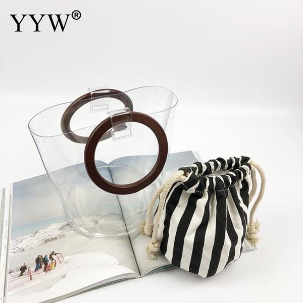 PVC Frauen Handtaschen Jelly Tote Luxus Designer Eimer Taschen Holz Ring Top Griff Strandtaschen Frauen Leinwand Streifen Tote Transparent