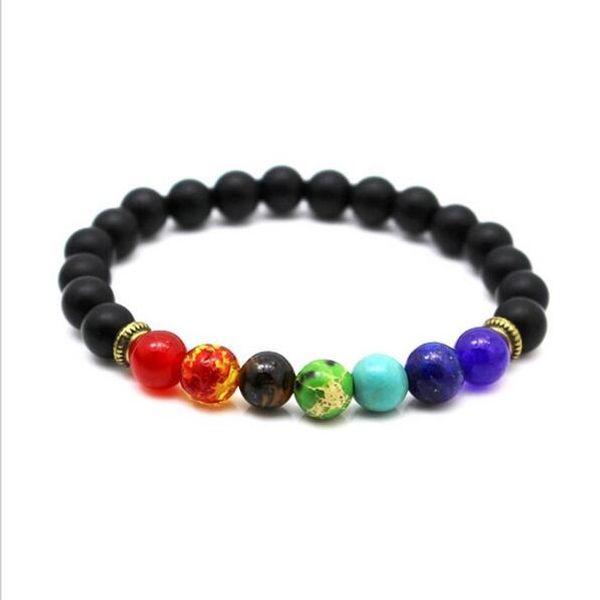 Nouveau 7 Chakra Bracelet Hommes Noir Lava Lait Guérison Équilibre Perles Reiki Bouddha Prière Pierre Naturelle Yoga Bracelet Pour Les Femmes