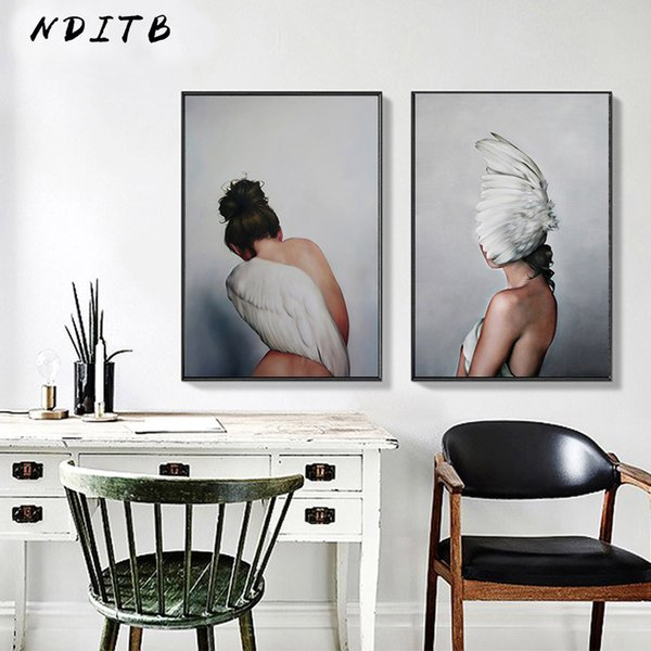 2019 Scandinavian Feather Lady Wall Art Canvas Print Abstract Poster  Painting Nordic Decoration Picture Modern Living Room Decor From Huojuhua,  $32.85 ...