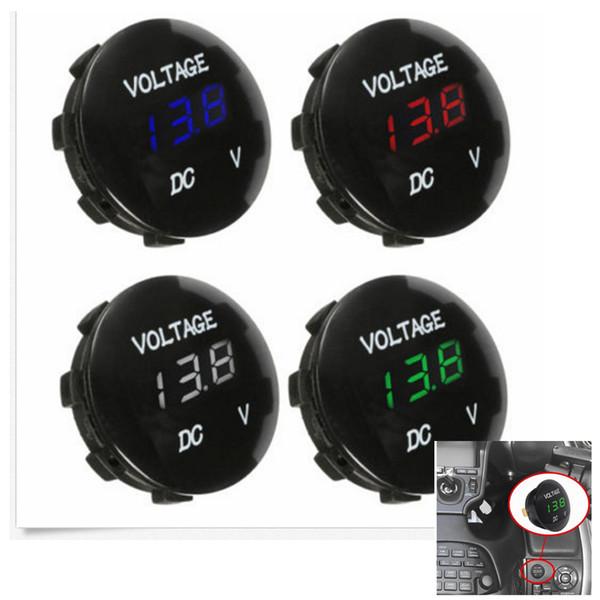 Tester del voltmetro dell'esposizione di LED del pannello rotondo di 12V mini per gli strumenti della barca dell'automobile del motociclo 4 colori AAA1009