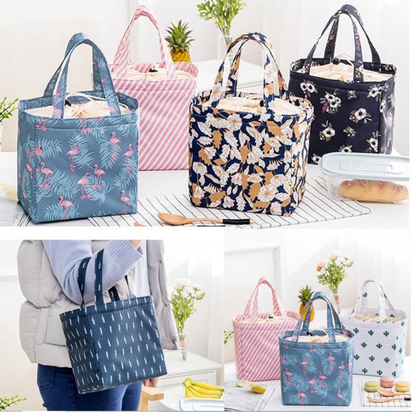 Senhora Almoço Saco Isolado Reutilizável Lunch Tote Organizador Cooler Bag Cordão Almoço Bolsa Caixa Dobrável Grande Capacidade para Menina Mulher