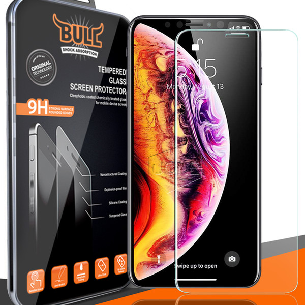 Premium Qulaity Brand Bull Shock Tempered Glass Screen Protector For 2018 NEW Iphone XR XS MAX 8PLUS X 8 S7 2.5D 0.26mm with Retail Package