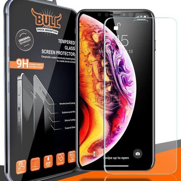 Premium Qulaity Marca Bull Shock Tempered Glass Protector de pantalla para 2018 NUEVO Iphone XR XS MAX 8PLUS X 8 S7 2.5D 0.26mm con paquete al por menor