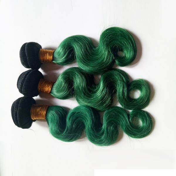 Mode Femmes Plume Brésilienne vierge Cheveux tisse Noël cheveux ombre trame 1B / vert Non Transformés 8-30 pouce Indien cheveux humains extension