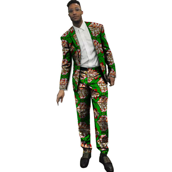 Blazer uomo stampa africana con pantaloni Set 2 pezzi uomo Ankara moda abiti dashiki completi da uomo su misura