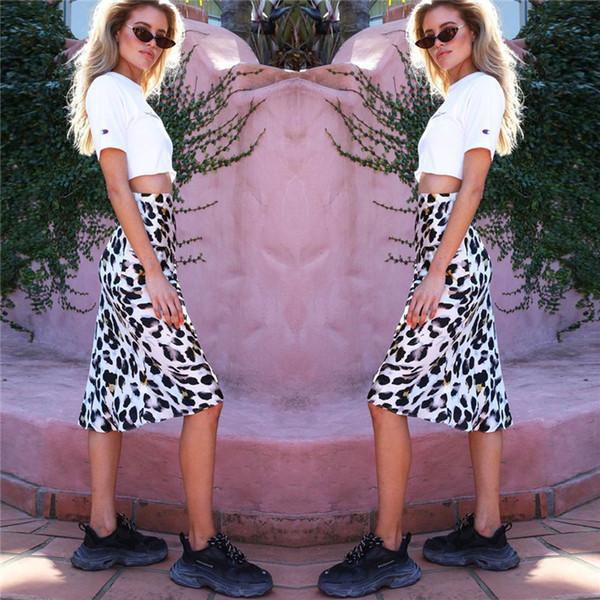 2019 Nueva Moda Leopard Mid Calf Mujer Faldas Barato Recto Casual Fiesta Desgaste formal Primavera Otoño Sexy Club Night Wear FS5264