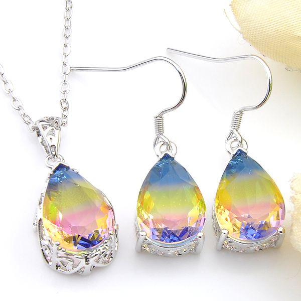 5 Sets Wholesale Gift Water Drop Rainbow Tourmaline Crystal Zircon Gem 925 Sterling Silver Pendants Drop Earrings Wedding Jewelry Sets