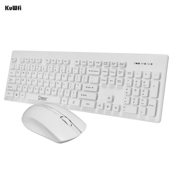 KuWfi Ultra Slim Wireless Keyboard 2.4Ghz Keyboard and Mouse Combos For Desktop Laptop PC Computer Set