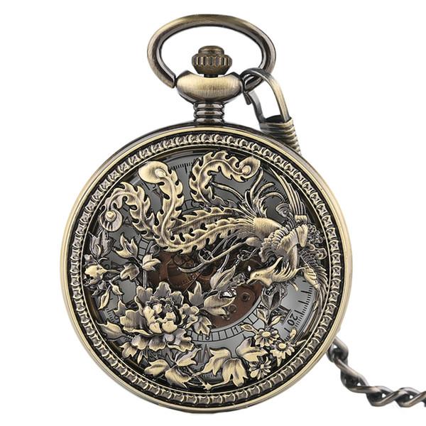Erkekler Kadınlar İçin Saatler Phoenix mechnical Pocket Saat Charm Lucky kolye Hediyeler Oyma Vintage Steampunk Çiçek