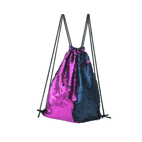 New Mermaid Sequin Backpack Sequins Drawstring Bags Reversible Paillette Outdoor Backpack Glitter Sports Shoulder Cell Phone Straps & Charms
