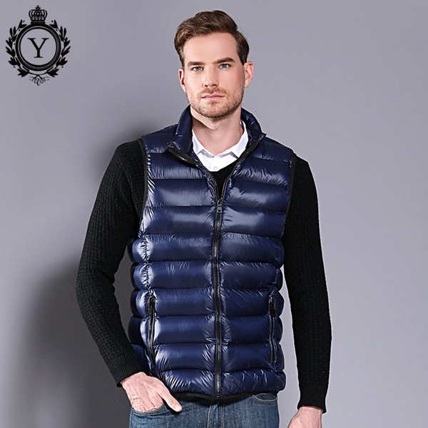 COUTUDI M-5XL Men's Sleeveless jacket Vest Winter Casual Slim Coats Sequins Men's Duck Down Vest Plus Size Waistcoat for male