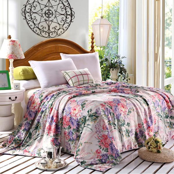 Wholesale- Floral print 50% natural silk Comforter summer handmade Duvet thin/thick quilt winter Blankets