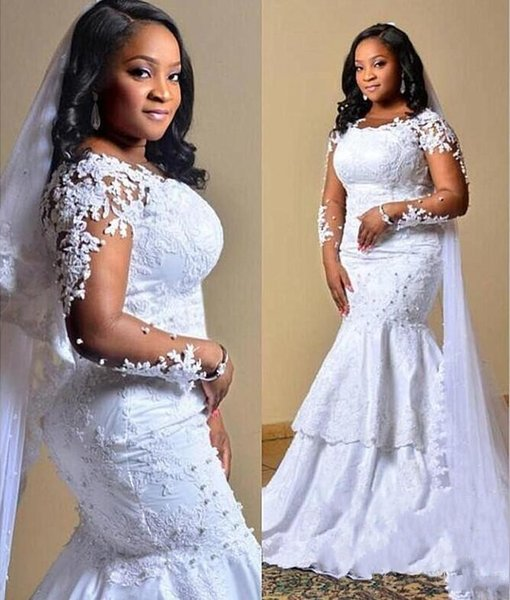 Plus Size Wedding Dresses Saudi African Appliques Beads Illusion Long Sleeves Mermaid Wedding Dress Layered Vintage Bridal Vestidos