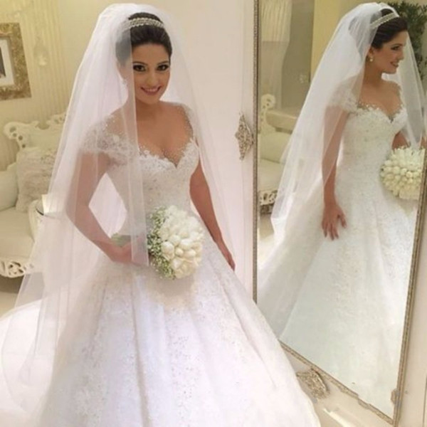 Arabic Lace Ball Gown Wedding Dresses 2018 Sheer Neck Appliques Beads Sweep Train Saudi Arabia Bridal Gowns Cheap Plus Size Customized