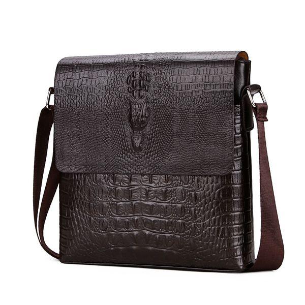 Borse a tracolla con patta a forma di alligatore degli uomini nuovi 2018 per gli uomini Borsa a tracolla Business Messenger Bag Crocodile bolsa feminina
