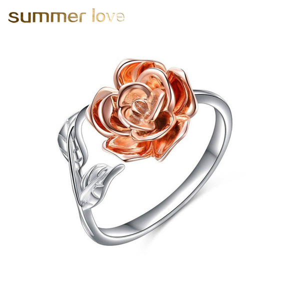 Hot Selling Copper Silver Color Adjustable Size Rose Flower Wrap Open Finger Ring For Women Wedding Hand Accessories Fashion Jewelry Gift