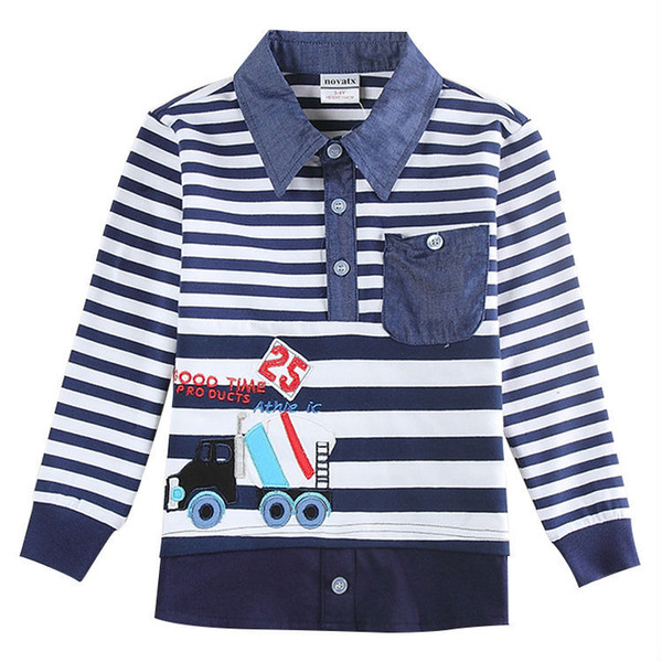 2017 Free shipping Baby Boys Clothes t shirts Kids Tees Boys Winter top tees Fashion 2-6 Years Turn-down Collar Shirts for boys