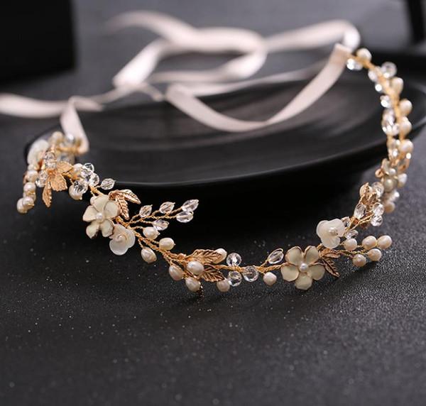 New bride headwear bride hand imitation pearl crystal hair band wedding bridal headwear