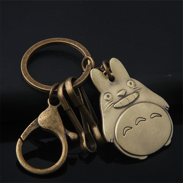 New Design Cartoon Totoro Shape Antique Bonze key chain ring holder keychains for key bag car Creative Gift Pendant Accessories