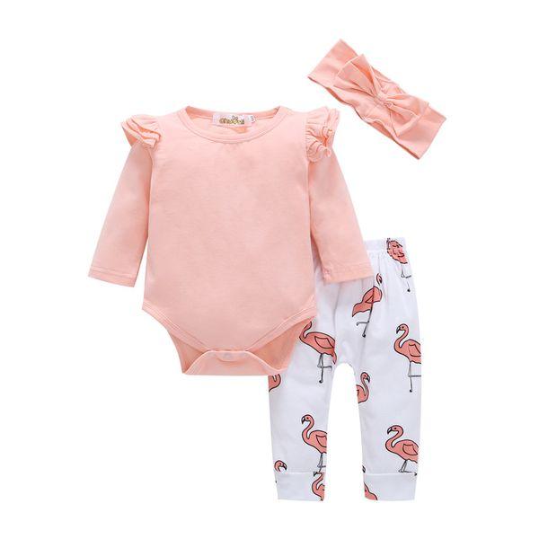 Bebek kızlar yanan kabak kıyafetler çocuklar yay çiçek baskı kafa bandı + romper + pantolon 3 adet / takım çocuk pamuk Ha Yi clothingsuits