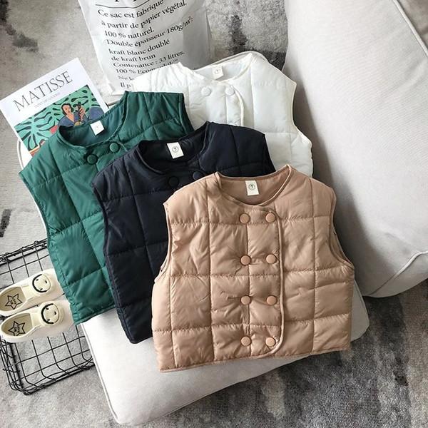 Yeni Sonbahar Kış Çocuk Boys Kız Yelek Bebek Kolsuz Ceket Kruvaze Dış Giyim Hırka Ceket Çocuk Yelek 14298