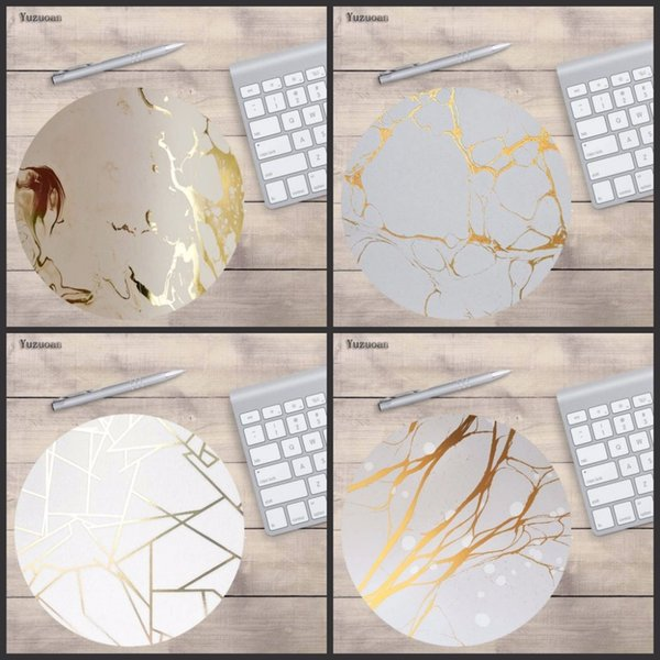 Yuzuoan Golden and white marble background Customized Support Non Slip Rubber Round Mouse pad Non Slip Mouse pad 20*20cm