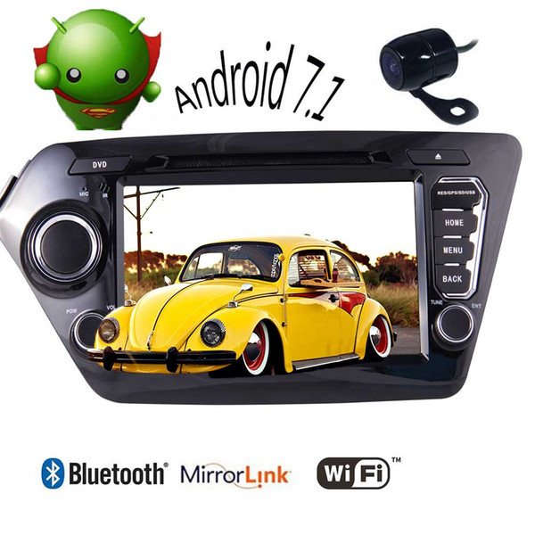 Double 2 Din Car Stereo Android 7.1 car dvd GPS Navi Quad-core Autoradio Bluetooth WiFi Headunit for KIA K2 2011-2012 Vehicles Mirrorlink