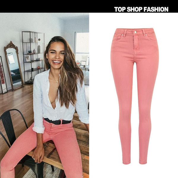 New Fashion Skinny Pink Slim Jeans Mid Waist Tight Elastic Jeans Pure Cotton Washed Denim Pencil Pants For Women