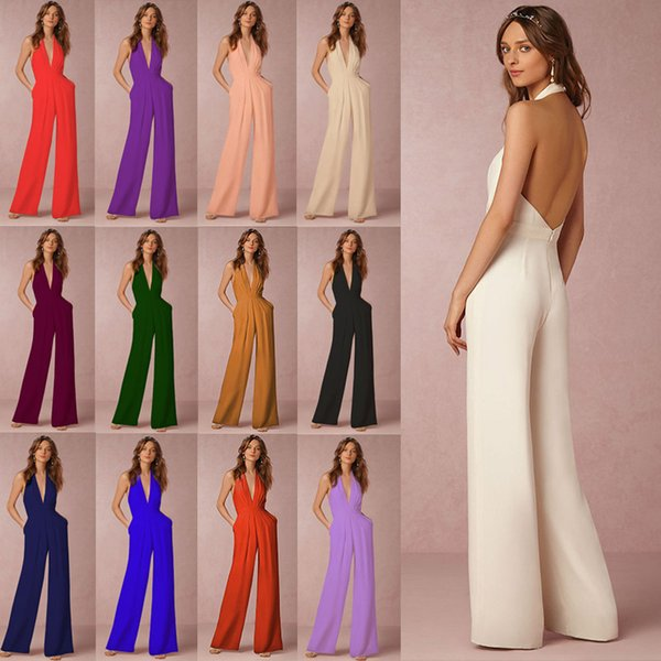 Body Femme Sexy Backless White Jumpsuit for Women Wide Leg Jumpsuit V Neck Rompers Womens Elegant Plus Size Overalls