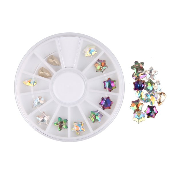BEAUTY7 Crystal Shiny Colorful Rhinestones Glitter Wheel Nail Art Decorations 5 Stars DIY Studs Manicure Nail Jewelry Supplies