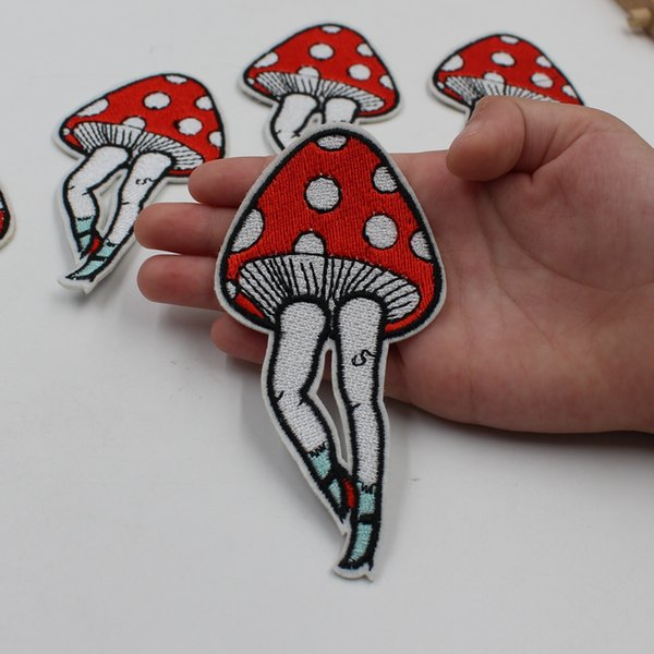 down jacket fashion clothing package indicator embroidery patch iron plate white mushroom animal stick stickers