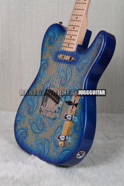 Custom Shop Crook Brad Paisley Signature Tele Blue Sparkle Paisley Guitare électrique, manche en érable, Pickguard transparent, matériel chromé
