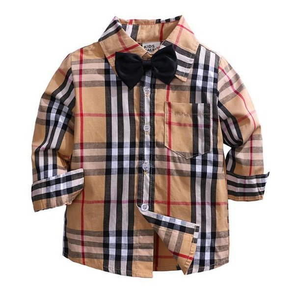 best selling Hot Sale Plaid Shirts Child Kid Boys Girl Long Sleeve Buttons Pocket Tops Shirt Turn Down Collar Blouse Casual