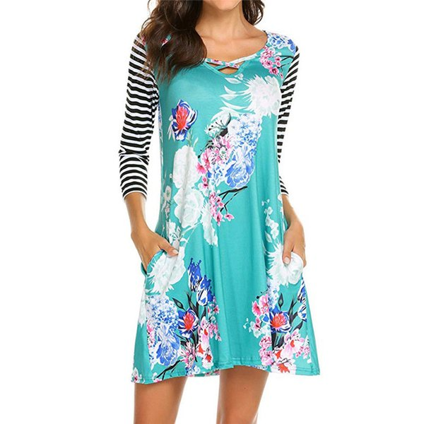Fashion Boho Women's Causal Loose Floral Print 3/4 Sleeve O-Neck Party Cocktail Mini Dress Sundress Summer Clothes