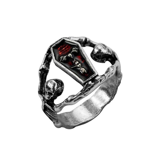 2019 Retro Silvery Punk Party Men Halloween Vampire Casket Ring The Vampire  Diaries Coffin Ring Skull Skeleton Rings For Women 2018 Hot J449 From