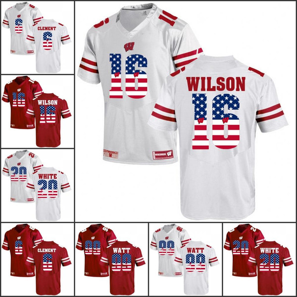 National flag NCAA Wisconsin Badgers College Football Russell Wilson Jonathan Taylor J. J. Watt Corey Clement Hornibrook White Tate III