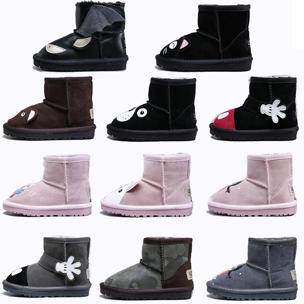 WGG Boots Cartoon Animal Shoes Classic Snow Boots For Girl Boy Shoes Lana de piel de oveja Conejo oso gato mantener caliente