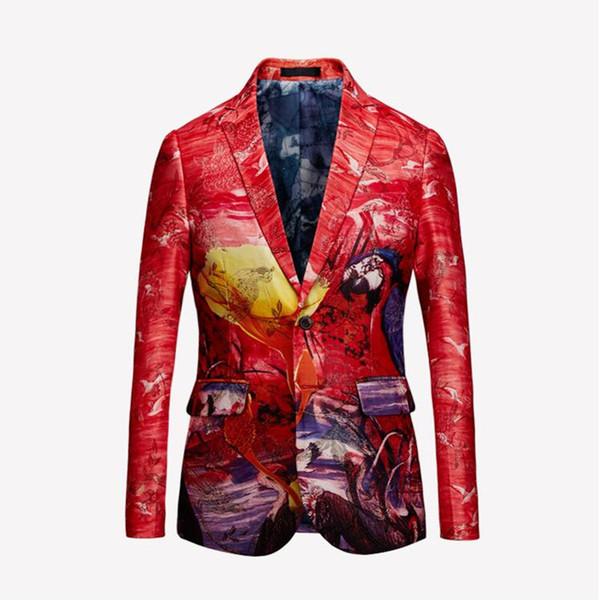 WIPU Marke Flut Mens Goldenen Chinesischen Stil Flamingo Muster Digitaldruck Anzug Jacke Hochzeit Nachtclub Bühne Blazer