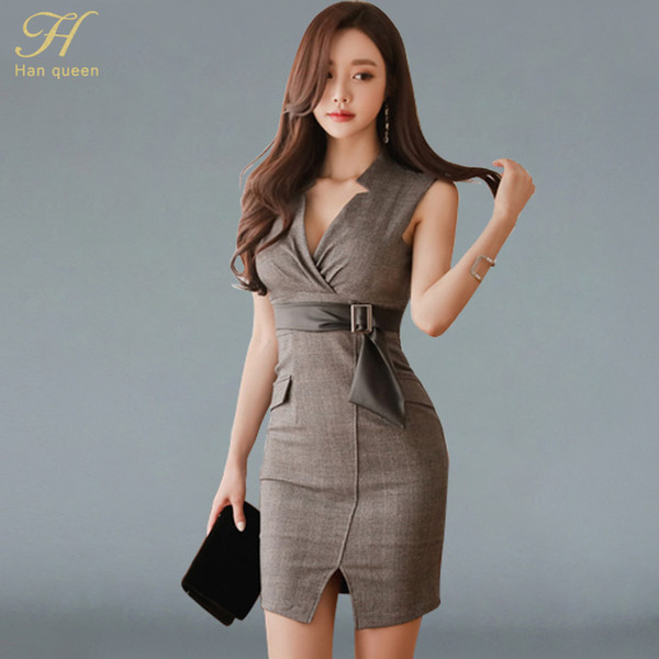 01e3c58165 H Han Queen New 2018 Summer Plaid Dresses Womens Sexy Cut Out OL Office  Vintage Sleeveless