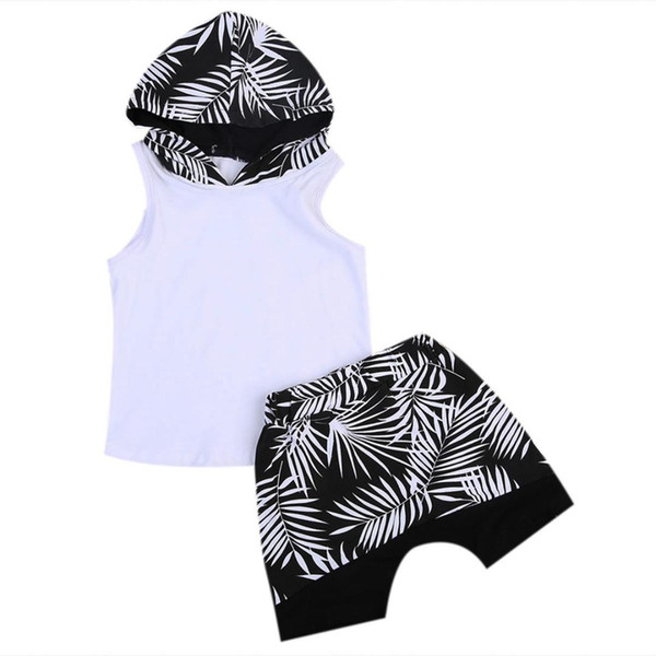 Toddler Infant Kid Baby Boy Clothes Sets Hoodie T-shirt Tops Sleeveless Hooded Shorts Summer Outfit Clothing Set